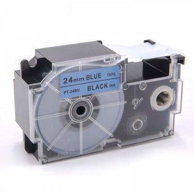 Kompatibilná páska s Casio XR-24BU1, 24mm x 8m, čierny tisk / modrý podklad