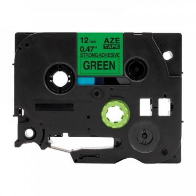 Kompatibilná páska s Brother TZ-S731/TZe-S731,12mm x8m extr.adh. čierny tisk/zelený podklad