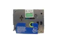 Kompatibilná páska s Brother TZ-715 / TZe-715, 6mm x 8m, biela tlač / zelený podklad