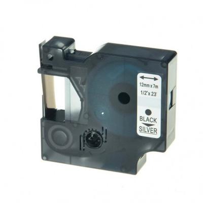 Kompatibilná páska s Dymo 45022, S0720620, 12mm x 7m čierny tisk / strieborný podklad