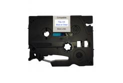 Kompatibilná páska s Brother TZ-123 / TZe-123, 9mm x 8m, modrá tlač / priehľadný podklad