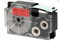 Kompatibilná páska s Casio XR-18RD1, 18mm x 8m, čierna tlač/červený podklad