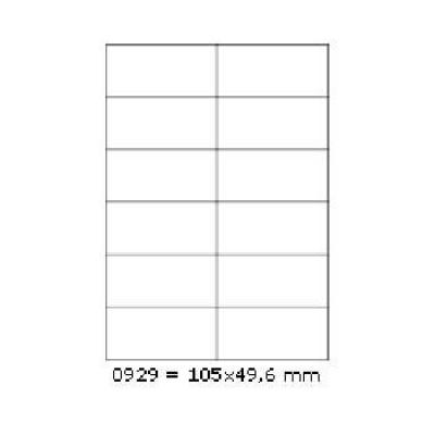 Samolepiace etikety 105 x 49,6 mm, 12 etikiet, A4, 100 listov