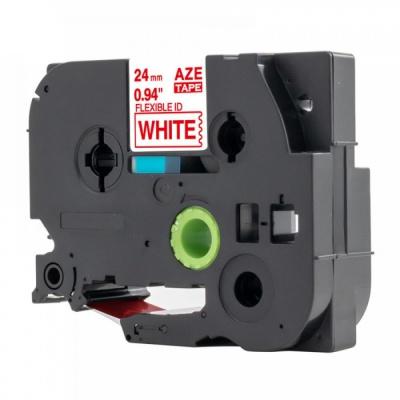 Kompatibilná páska s Brother TZ-FX252 /TZe-FX252, 24mm x 8m, flexi, červená tlač / biely podklad
