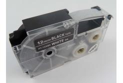 Kompatibilní páska s Casio XR-12ABK, 12mm x 8m bílý tisk / černý podklad
