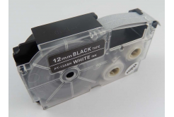 Kompatibilná páska s Casio XR-12ABK, 12mm x 8m biela tlač / čierny podklad
