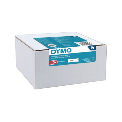 Dymo D1 45013, 2093097, 12mm x 7m, čierna tlač/biely podklad, originální pásky, 10ks