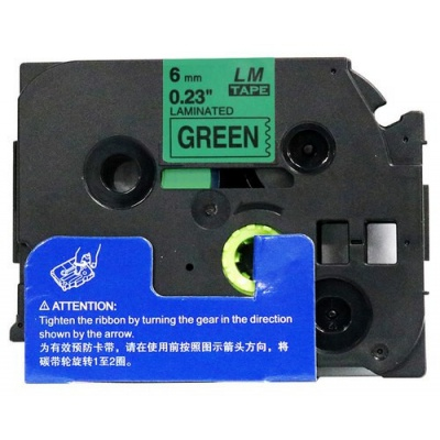 Kompatibilná páska s Brother TZ-711 / TZe-711, 6mm x 8m, čierna tlač / zelený podklad