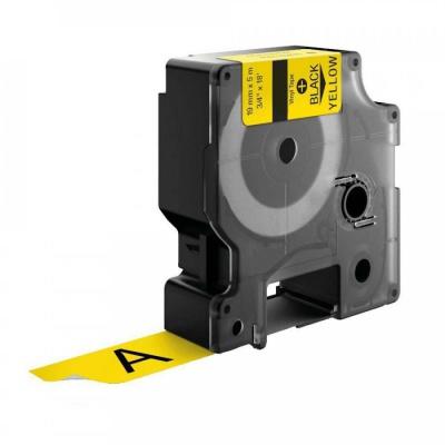 Kompatibilná páska s Dymo 18433, Rhino, 19mm x 5,5m čierna tlač / žltý podklad, vinyl