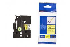 Kompatibilná páska s Brother TZ-FX651/TZe-FX651 24mm x 8m, flexi, čierna tlač / žltý podklad