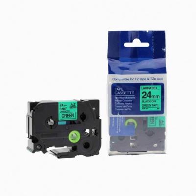 Kompatibilná páska s Brother TZ-751 / TZe-751, 24mm x 8m, čierna tlač / zelený podklad