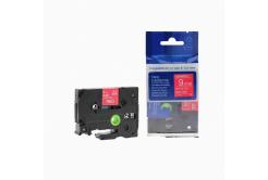 Kompatibilná páska s Brother TZ-425 / TZe-425, 9mm x 8m, biela tlač / červený podklad