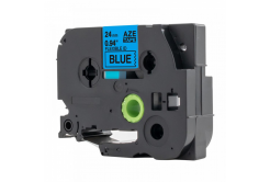 Kompatibilná páska s Brother TZ-FX551 / TZe-FX551, 24mm x 8m, flexi, čierna tlač / modrý podklad