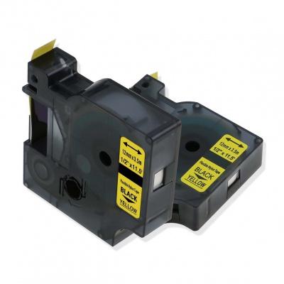 Kompatibilná páska s Dymo 18490, Rhino 12mm x 3,5m čierny tisk / žltý podklad, nylon flexi