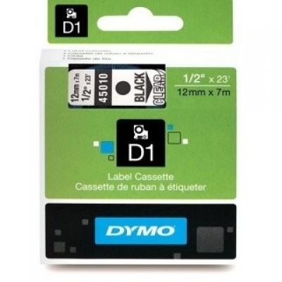 Dymo D1 45010, S0720500, 12mm x 7m čierna tlač / priehľadný podklad, originálna páska