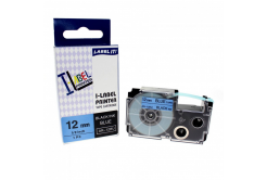Kompatibilná páska s Casio XR-12BU1, 12mm x 8m, čierna tlač/modrý podklad