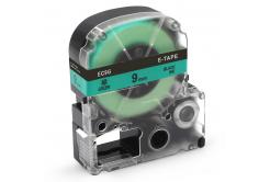 Epson LK-SC9GW, 9mm x 9m, černý tisk / zelený podklad, kompatibilní páska