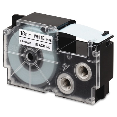 Kompatibilná páska s Casio R11WE 18mm x 2,5m smršťovací čierny tisk / biely podklad
