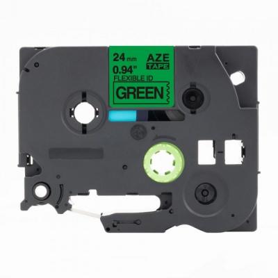 Kompatibilná páska s Brother TZ-FX751 / TZe-FX751,24mm x 8m, flexi, čierna tlač / zelený podklad
