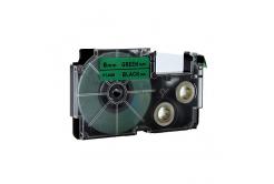 Kompatibilná páska s Casio XR-6GN1, 6mm x 8m čierny tisk / zelený podklad