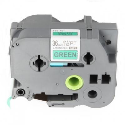 Kompatibilná páska s Brother TZ-761 / TZe-761, 36mm x 8m, čierna tlač / zelený podklad