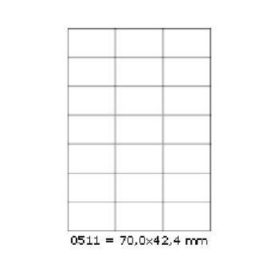 Samolepiace etikety 70 x 42,4 mm, 21 etikiet, A4, 100 listov