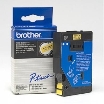 Brother TC-601, 12mm x 7,7m, čierna tlač / žltý podklad, originálna páska