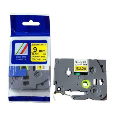 Kompatibilná páska s Brother TZ-FX621/TZe-FX621, 9mm x 8m, flexi, čierny tisk/žltý podklad