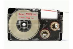 Kompatibilní páska s Casio XR-9WER 9mm x 8m červený tisk / bílý podklad