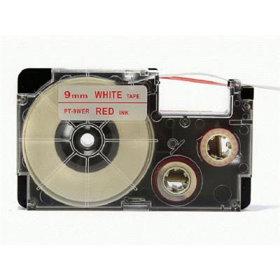 Kompatibilná páska s Casio XR-9WER 9mm x 8m červená tlač / biely podklad