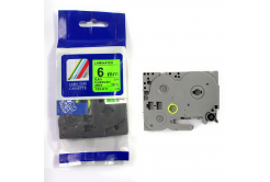 Kompatibilná páska s Brother TZ-D11/TZe-D11, signálne 6mm x 8m, čierna tlač/zelený podklad
