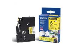 Brother TZ-FX611 / TZe-FX611, 6mm x 8m, čierna tlač/žltý podklad, originálna páska