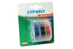 Dymo S0847750, 9mm x 3 m, bílý tisk/černý, modrý, červená, originální páska