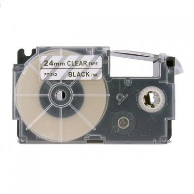 Kompatibilná páska s Casio XR-24X1, 24mm x 8m, čierny tisk / priehľadný podklad