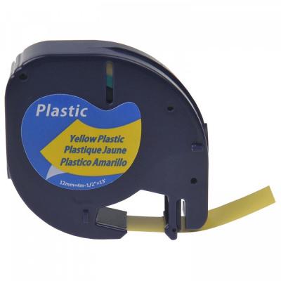 Dymo 91211 LetraTag 12mm x 4m, černý tisk / fluorescenční žlutý podklad, kompatibilní páska