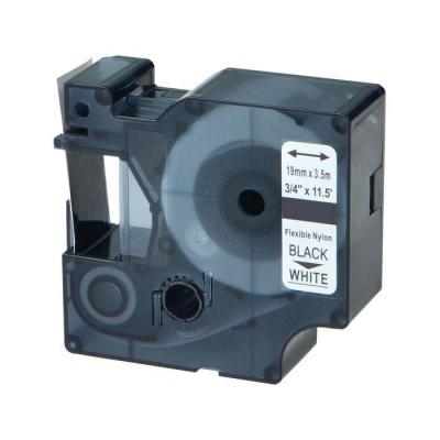 Kompatibilná páska s Dymo 18489, Rhino, 19mm x 3,5m čierny tisk / biely podklad, nylon flexi
