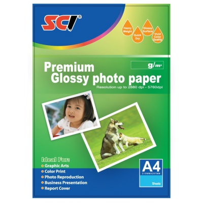 SCI GPP-230 Glossy Inkjet Photo Paper, 230g, A4, 20 listů, lesklý fotopapír