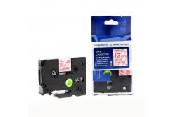 Kompatibilná páska s Brother TZ-132 / TZe-132, 12mm x 8m, červená tlač / priehľadný podklad