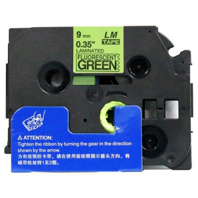 Kompatibilná páska s Brother TZ-D21/TZe-D21, signálne 9mm x 8m, čierna tlač/zelený podklad