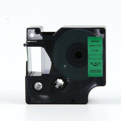Kompatibilná páska s Dymo 53719, S0720990, 24mm x 7m, čierny tisk / zelený podklad