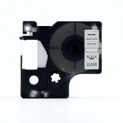 Kompatibilná páska s Dymo 40910, S0720670, 9mm x 7m, čierna tlač/priehľadný podklad