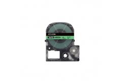 Epson HTC12GW, 12mm x 8m, černý tisk / zelený podklad, kompatibilní páska