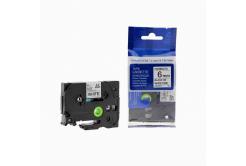 Kompatibilná páska s Brother TZ-FX211/TZe-FX211, 6mm x 8m, flexi, čierna tlač/biely podklad