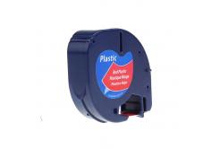 Kompatibilná páska s Dymo 59424,S0721580 / 91203,S0721630, 12mm x 4m,čierny tisk/červený po
