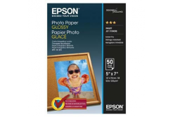 Epson Glossy Photo Paper, foto papír, lesklý, bílý, 13x18cm, 200 g/m2, 50 ks, C13S042545, inkou