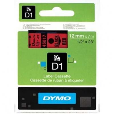 Dymo D1 45017, S0720570, 12mm x 7m, čierna tlač / červený podklad, originálna páska
