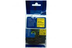 Kompatibilná páska s Brother HSe-651, 23,7mm x 1,5m, čierna tlač / žltý podklad