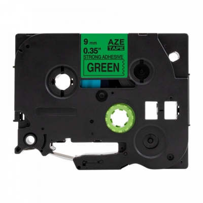 Kompatibilná páska s Brother TZ-S721 / TZe-S721, 9mm x 8m, extr.adh. čierna tlač / zelený podklad
