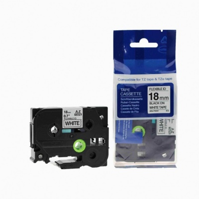 Kompatibilná páska s Brother TZ-FX241/TZe-FX241, 18mm x 8m, flexi, čierna tlač/biely podklad