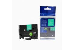 Kompatibilná páska s Brother TZ-725 / TZe-725, 9mm x 8m, biela tlač / zelený podklad